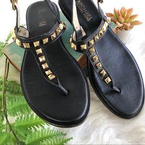 MICHAEL Michael Kors black sandals with gold studs